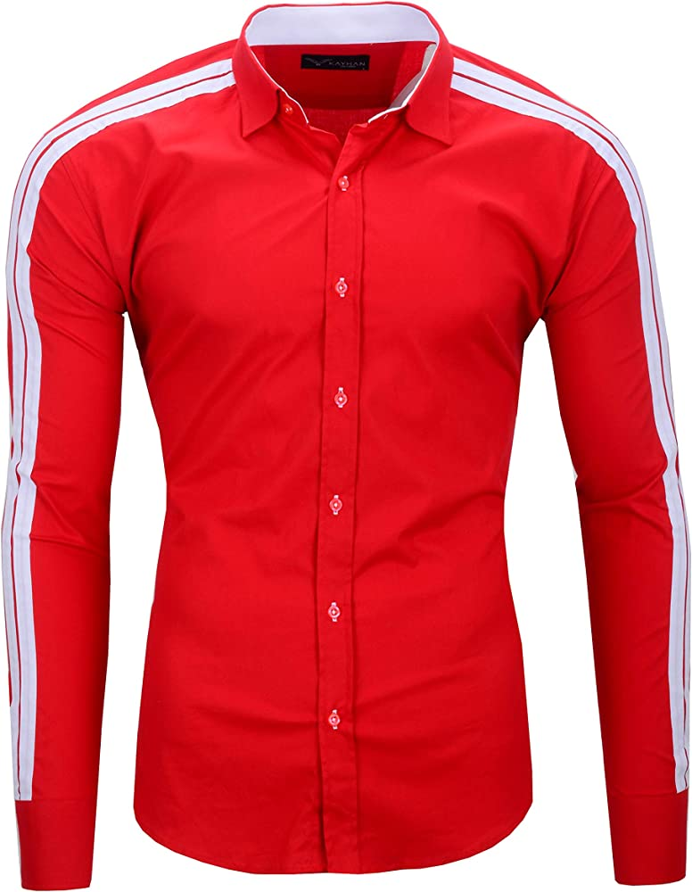 Kayhan,originale camicia per uomo,maniche lunghe,97% cotone, 3% elastan B-Python-0000110