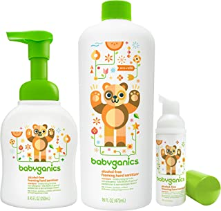 Babyganics Foam Hand Sanitizer with Refill Bottle & On The Go Set (Tangerine)
