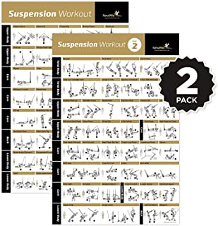 Suspension Exercise Poster Laminated - Strength Training Chart - Build Muscle, Tone & Tighten - Home Gym Resistance Workout Routine - Fitness Guide - Bodyweight Resistance