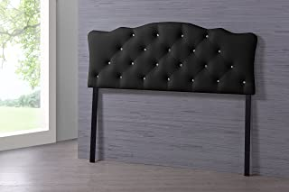 Baxton Studio Wholesale Interiors Rita Modern and Contemporary Faux Leather Upholstered Button-Tufted Scalloped Headboard, Queen, Black