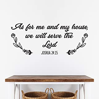 As for me and my house, we will serve the Lord Bible Verse Christian Wall Decal - Joshua 24:15 - Removable Vinyl Sticker Lettering