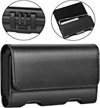 BECPLT Samsung Galaxy S10e Holster Case, iPhone 8 Belt Clip Case, Premium Leather Holster Pouch Loops Carrying Case with ID Card Holder for Apple iPhone 7, iPhone 6s, 6 (Fit w/Thin Case on) (Black)