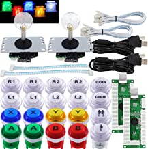 SJ@JX Arcade 2 Player Game Controller Stick DIY Kit LED Buttons with Logo MX Microswitch 8 Way Joystick USB Encoder Cable ...