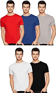 Amazon Brand - Symbol Men's Solid Regular Fit Half Sleeve Cotton T-Shirt (Combo Pack of 5)