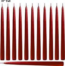 Red Taper Candles 10 Inch Tall - Elegant - Premium Quality - Dripless Smokeless - Hand-Dipped - Set of 12 - for Wedding, Dinner, Ceremony, Table Candles, Birthday Made in USA