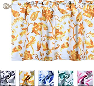 Watercolor Blooming Floral Flower Mustard Yellow Valance for Windows Blackout Waterproof Kitchen Paisley Valances Rod Pocket Topper Curtain Valance 18 Inch for Bathroom Basement Living Room Bedroom