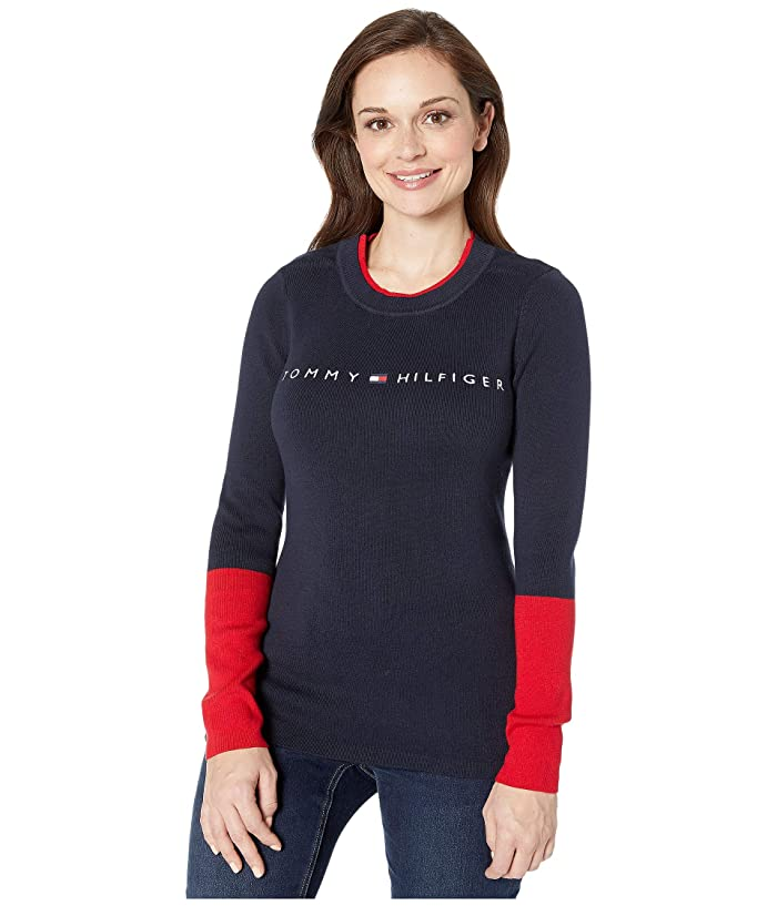 Tommy Hilfiger Adaptive  Sweater with VELCRO Brand Closure at Shoulders (Masters Navy/Multi) Womens Clothing