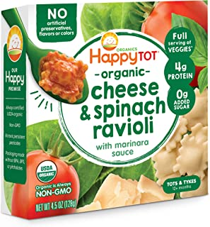 Sponsored Ad - Happy Tot Love My Veggies Cheese & Spinach Ravioli Bowl with Marinara Sauce, 4.5 Ounce, 8 Count (Packaging ...