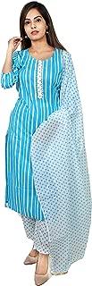 Kurtivala's Cotton Fabric Salwar Suit | Salwar Suit With Dupatta | Ethnic Wear For Women | Latest Design Kurti With Palazzo | Strip Kurtis | Plazzo Pant | Striped Pattern | Sky Blue