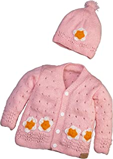 Hand Made 3 Piece Knitted Magnolia Flower Baby Crochet Set- Newborn Toddler Wool Sweater Set Includes- Booties & Hat