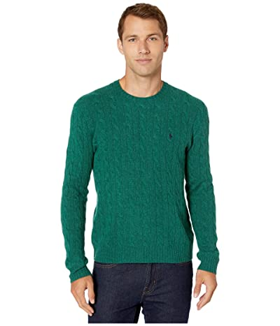 Polo Ralph Lauren Wool Cashmere Long Sleeve Cable Knit Sweater (Trader Green Heather) Men