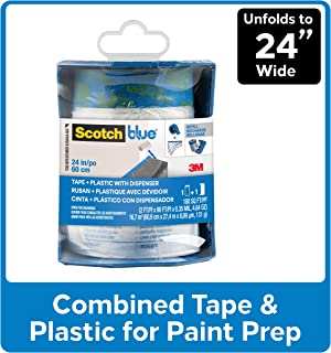 ScotchBlue Pre-taped Painter`s Plastic, Unfolds to 24-Inches by 36-Yard - PTD2093EL-24