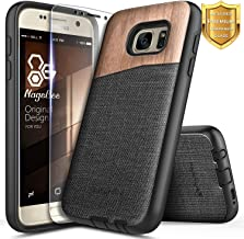 Galaxy Note 5 Wood Case, NageBee Premium [Natural Wood] Canvas Fabrics Heavy Duty Shockproof Hybrid Defender Rugged Durable Case w/[Tempered Glass Screen Protector] for Samsung Galaxy Note 5 -Wood