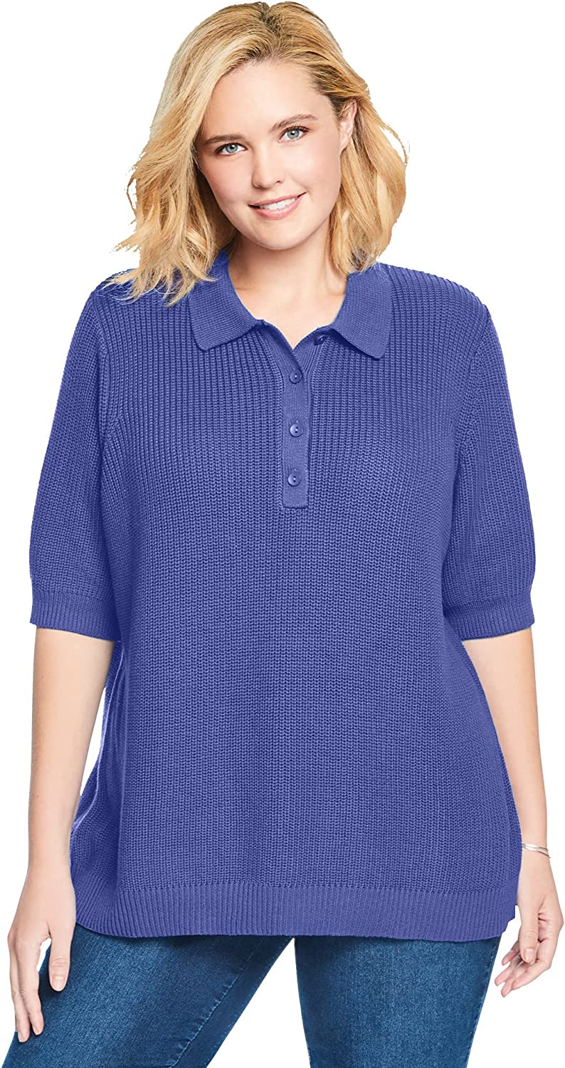 Woman Within Women's Plus Size Elbow-Sleeve Polo Shaker Sweater
