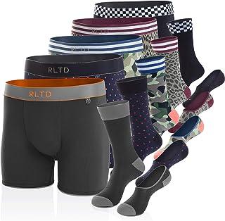 RLTD Men's Boxer Briefs and Socks Matching Underwear Set, Variety 15 Piece (5 Pack)