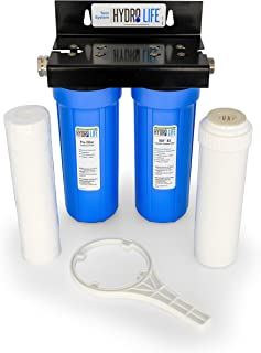 Camco Hydro Life Premium Dual Water Filtration System - Filters Sediment Chlorine & More  Perfect for Organic Fruits and V...