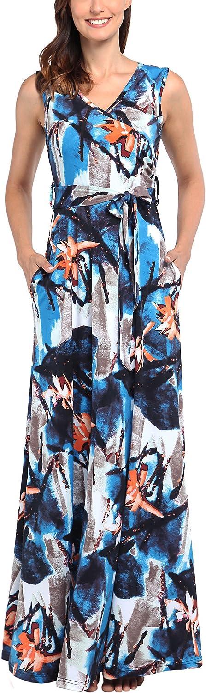 Comila Women's Summer V Neck Floral Maxi Dress Casual Long Dress