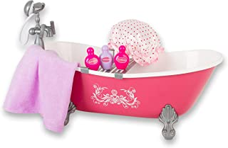 Beverly Hills Hot Pink Bathtub and Shower Set with Accessories, for 18 Inch Dolls