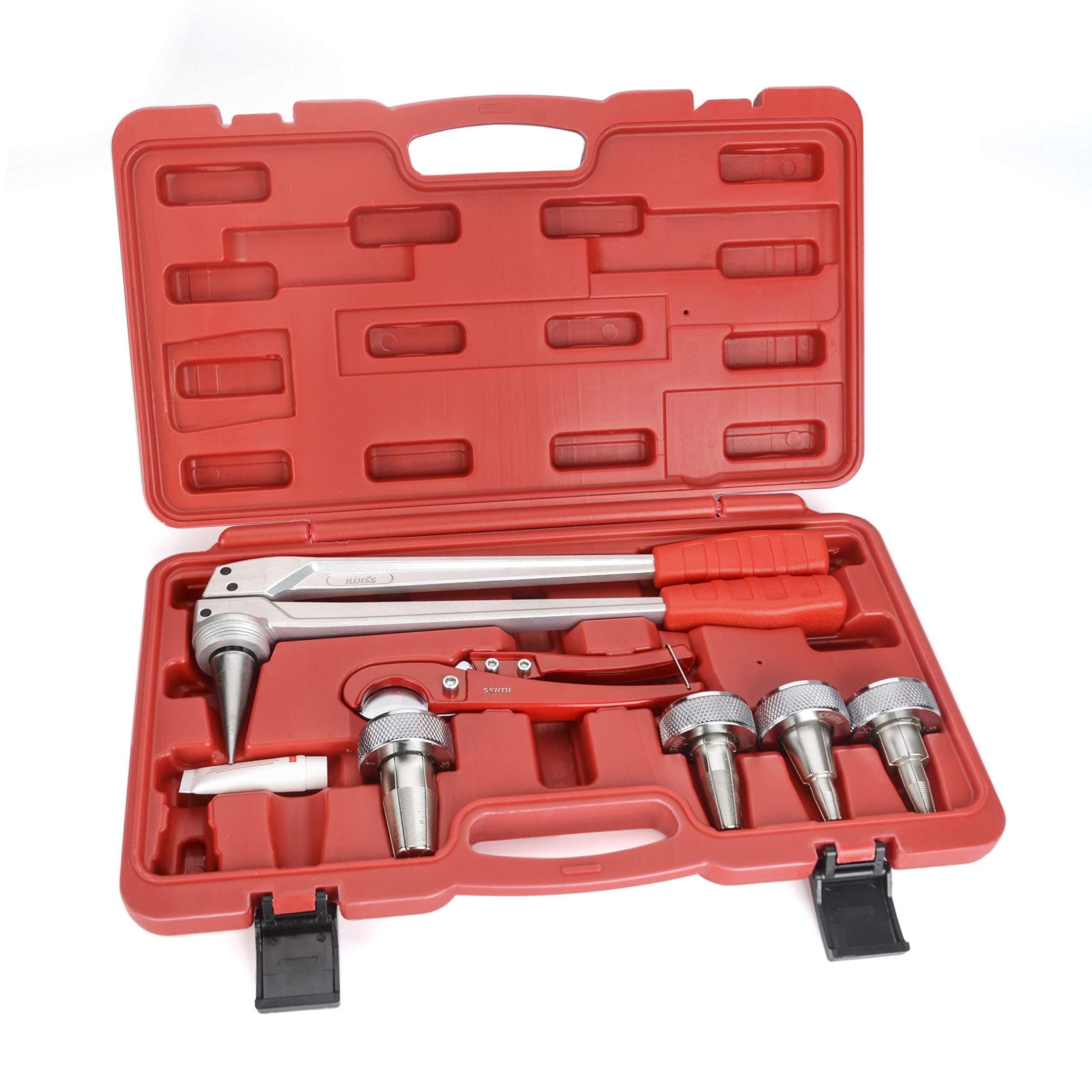 "Manual de expansión de tubería PEX iwiss F1960 Kit de herramientas con cabezas de expansión de 1//2/"" a 1/"""