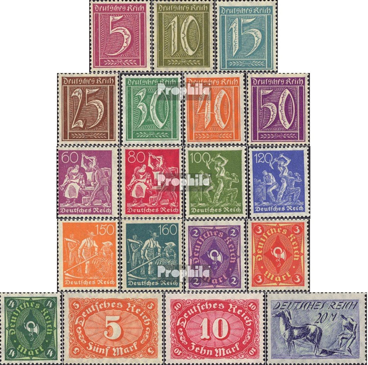 German Empire 158-176 (Complete.Issue.) 1921 Clear Brands (Stamps for Collectors)