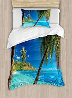 Twin XL Extra Long Bedding Set, Ocean Duvet Cover Set, Image of a Tropical Island with the Palm Trees and Clear Sea Beach Theme Print, Include 1 Flat Sheet 1 Duvet Cover and 2 Pillow Cases