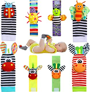 8 Pieces Baby Wrist Rattle Foot Finder Socks Baby Sensory Learning Toys Cute Stuffed Animal Toys Soft Breathable Feet Wris...