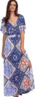 Women's Boho Split Tie-Waist Vintage Print Maxi Dress