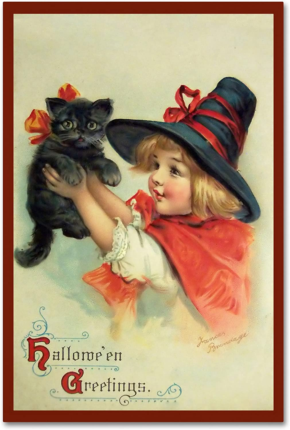 Little Witch and Halloween Kitty by Vintage Apple Collection, 12x19Inch
