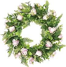 Baoblaze 45cm Door Wreath, Artificial Flowers Rose Wreath, Spring Summer Front Door Decor with Silk Roses, Plastic Green L...