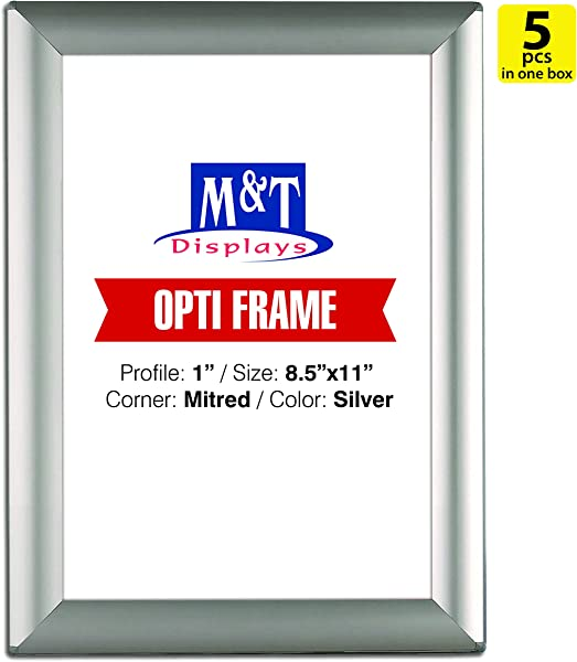 DisplaysMarket 8 5x11 Snap Frame For Wall Mount Opti Frame 1 Inch Profile Silver 5