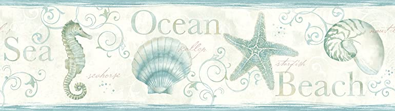 Chesapeake DLR53562B Island Bay Teal Seashells Wallpaper Border