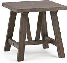 Simpli Home 3AXCDLN-03 Dylan Solid Wood 20 inch Wide Square Modern Industrial End Side Table in Driftwood