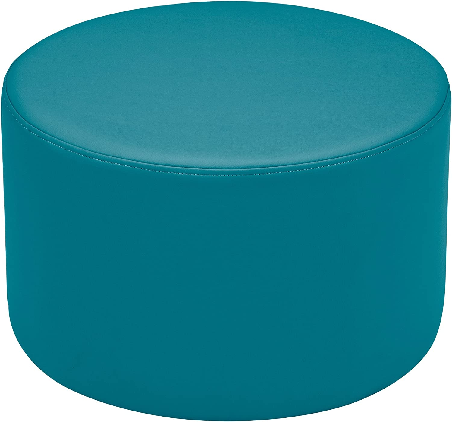 Sprogs Vinyl Soft Seating Round Stool, 12  H, Teal, SPG-1005SF-A