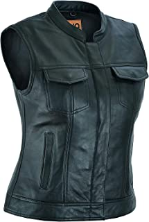 Gilet da motociclista unisex M con lacci laterali e bottoni cromati in vera pelle stile denim