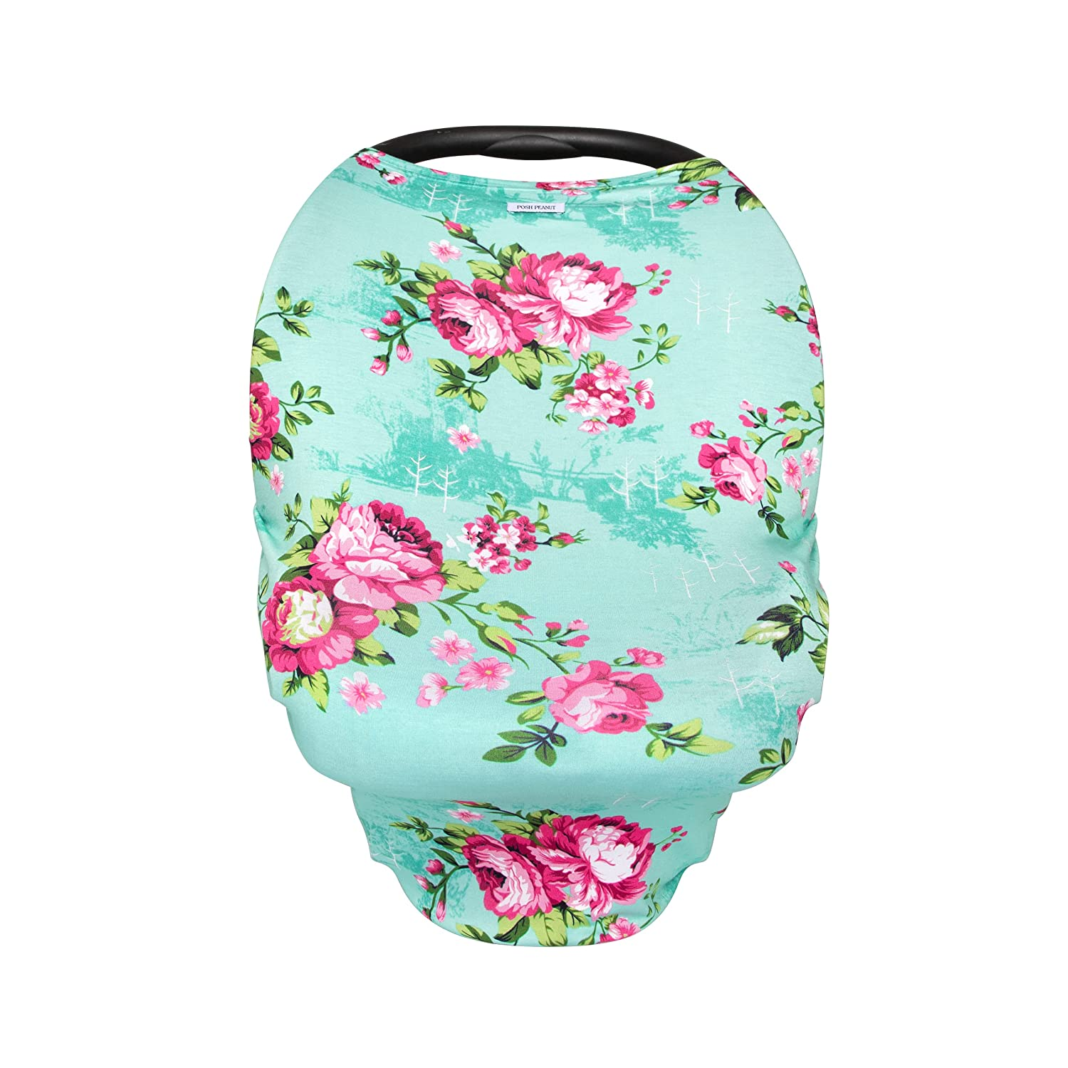 Posh Peanut Baby Car Seat Cover - Premium Knit Nursing Cover - Stretchy and Soft Viscose from Bamboo - Aqua Floral