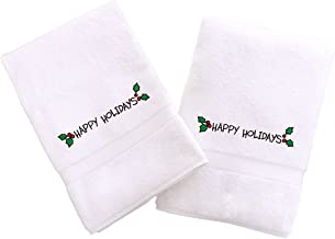 Linum Home Textiles Embroidered Hand Towels with Happy Holidays Ornament (Set of 2), White, One Size