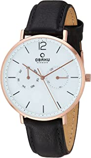 Obaku Stainless Steel Analog-Quartz Watch with Leather Strap, Black, 22 (Model: V182GMVWRB)