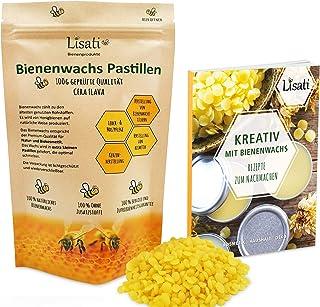 Bienenwachs Pastillen - 100% Natürlich - 100g, 200g oder 500g  ebook mit Rezepten, Kosmetik, Handcreme, Kerzen, Bienenwachstücher, Holz-, Möbel-, und Lederpflege - wiederverschließbarer Beutel