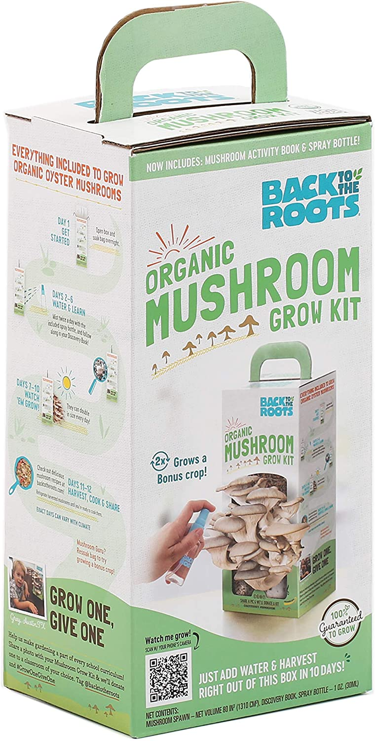 Back to the Roots Organic Mushroom Growing Kit Back View of Packaging