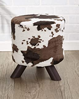 The Lakeside Collection Animal Print Fabric-Covered Ottoman - Cream/Brown Cow Hide