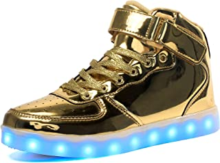 Maniamixx Kids LED Light up Shoes Flashing Sneakers High-Top USB Charging Shoes for Boys and Girls
