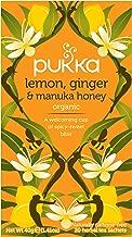 Pukka Herbs Organic Lemon, Ginger and Manuka Honey Herbal Tea, 20 Individually Wrapped Tea Bags, 6 Count