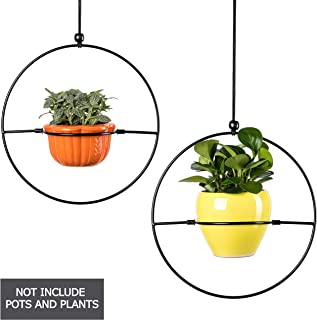 2 Pcs Outdoor Hanging Planters For Plants Without Succulent Herb - Indoor Wall Window Planter - Black Plant Hangers Support Large Ceramic Pots Or Box For Modern Decor Fit 6'' Pot