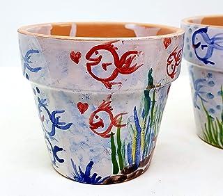 n.2 Vasi da fiore diametro 13 Handmade Le Ceramiche del Castello Made in Italy
