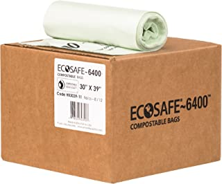 EcoSafe-6400 HB3039-11 Heavy Duty Certified Compostable Bag, 30-Gallon, Green (Pack of 96)