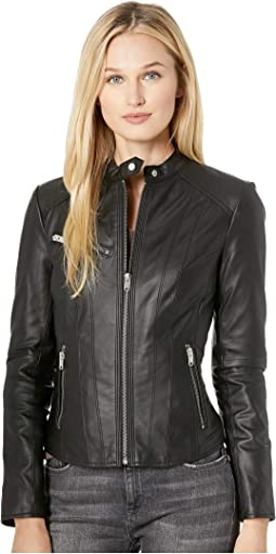 "Felicity 19"" Feather Leather Moto Jacket"