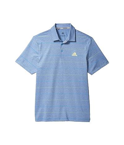 adidas Golf Ultimate365 Heathered Stripe Polo Shirt (Tracy Royal Melange/Solar Yellow/Light Blue) Men