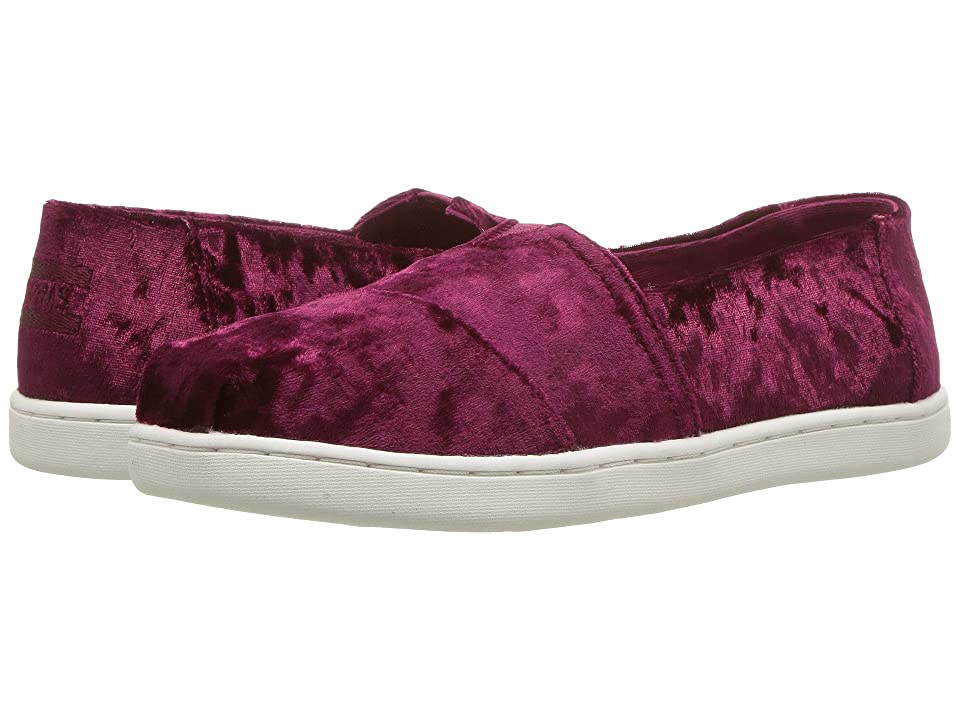 TOMS Kids Alpargata (Little Kid/Big Kid) (Black Cherry Velvet) Girl