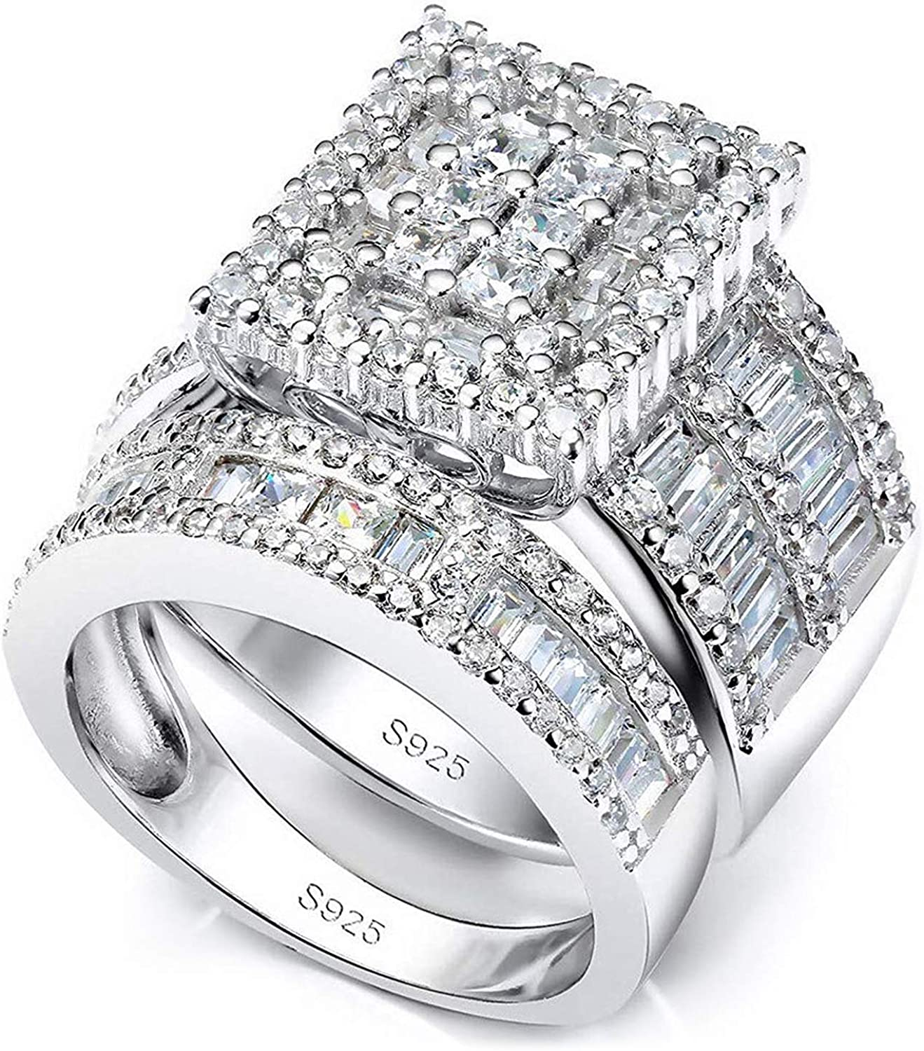 Pophylis 55% OFF Platinum Selling and selling Over Sterling Silver Rings Womens Big S Bridal