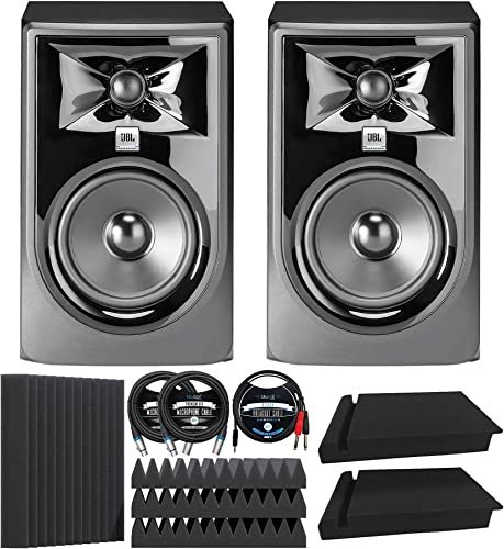 """wholesale JBL Professional 305P MkII Next-Generation Studio Monitors (2-pk) Bundle with Blucoil 12"""" Acoustic Wedges (4-pk), 10' XLR Cables popular (2-pk), 5' TRS to TS Stereo Breakout Cable, and Isolation discount Pads (2-pk) outlet sale"""